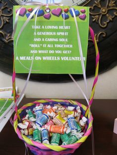 Easy Thank You Gift for volunteers. Would be great in the volunteer central room.