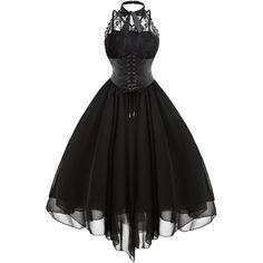 Lace Panel Cross Back Gothic Corset Dress (110 PLN) via Polyvore featuring dresses, criss-cross back dresses, lace inset dress, gothic lolita dress, cross back dress i corset dresses