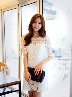 chuu - Elbow-Sleeve Lace Dress #elbowsleeve #lace #dress #minidress #lacedress #elbowsleevedress