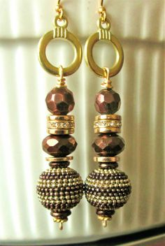Gold wire brown/gold pave bead, brown glass metallic beads, gold discs drop dangle earrings. SOLD. Please visit my ebay page to see all of my earrings for sale: www.ebay.com/...?::