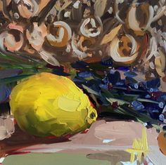 Lemon and Lavender original still life oil painting by Angela Moulton 6 x 6 inch on panel pre-order by prattcreekart on Etsy