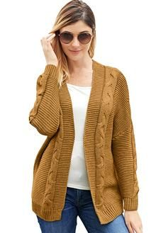 Women/'s Cardigan Thick Loose Knitted Wrap Sweater Simple Collarless Coat Lady/'s