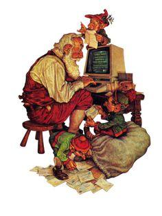 """""""Santa's Computer,"""" December 1, 1982 Giclee Print by Scott Gustafson at Art.com"""