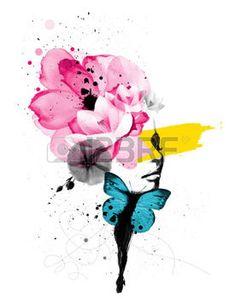 papillon: Mixte illustration de médias d'un portrait de femme avec des ailes de papillon et décoration florale Banque d