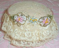 ANTIQUE Net Lace, Pink Silk Pin Cushion w/ Ribbonwork ROSES Trim