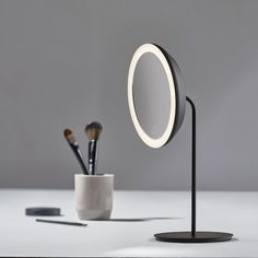 zone denmark magnifying table mirror from amara, affiliate partner Flat Marbles, Table Led, Basin Vanity Unit, Bathroom Accessories Luxury, Heated Towel Rail, Standing Mirror, Black Mirror, Desk Lamp, Natural Light