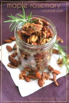 Maple Rosemary Cocktail Nuts - these sugar-free salty sweet nuts are highly addictive!