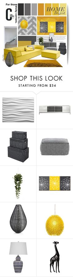 """Yellow & Gray: Home Digest"" by mcheffer ❤ liked on Polyvore featuring interior, interiors, interior design, home, home decor, interior decorating, Modloft, Nearly Natural, Crate and Barrel and Cool Change"