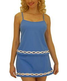 Very flattering on us plus size girls! Blue & Cream Tankini & Skirted Bikini Bottoms by Fit 4 U