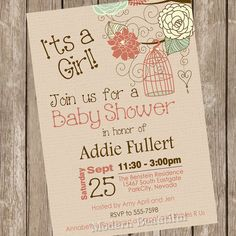 Rustic bird cage baby shower invitation, fall baby shower invitation, pink, brown, mint, rustic, chic, printable, digital file