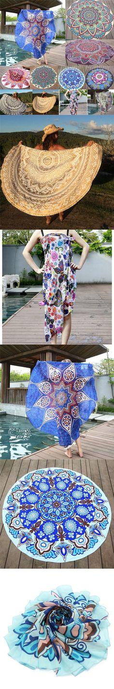 Round Printed Bohemian Mandala Tapestry Wall Hanging Home Decor Picnic Pad Beach Towel Blanket Shawl Bath Towel Swimwear Shower $10.1