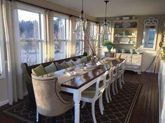 Dining room. Farmhouse table and church pew http://omahahomeequitygroup.npdodge.com/
