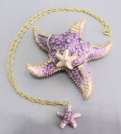 New Trinket Box Gift Painted Swarovski Crystals Purple Starfish Beach Necklace