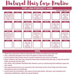 nother regimen template, this time for low-porosity hair. Some important things … nother regimen template, this time for low-porosity hair. Some important things to remember for caring for low-porosity hair. Use gentle Best Natural Hair Products, Natural Hair Regimen, Natural Hair Tips, Natural Hair Journey, Natural Hair Styles, Fine Natural Hair, Natural Curls, Natural Beauty, Low Porosity Hair Products