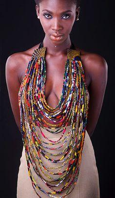 African print fabric beads ~Latest African Fashion, African Prints, African fashion styles, African clothing, Nigerian style, Ghanaian fashion, African women dresses, African Bags, African shoes, Kitenge, Gele, Nigerian fashion, Ankara, Aso okè, Kenté, brocade. ~DK