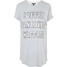 TOPSHOP Coffee Waffles Sleep Tee (€35) ❤ liked on Polyvore featuring intimates, sleepwear, nightgowns, grey marl and topshop