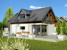 The project storey house with an attic and a garage single user. Made in the traditional brick technology, with weather-boarding,. One Storey House, Inside Outside, Garage House, Design Case, Home Fashion, Attic, Building A House, House Plans, Brick