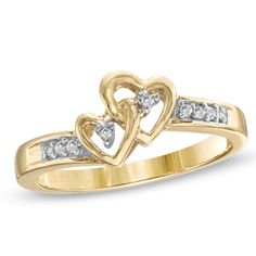 Purchase Real Diamond Accent Double Heart Promise Ring In Yellow Gold # Free Stud Earrings from JewelryHub on OpenSky. Share and compare all Jewelry. Ruby Wedding Rings, Bridal Rings, Vintage Engagement Rings, Vintage Rings, Heart Promise Rings, Charm Rings, Baguette Diamond, Anniversary Rings, Fashion Rings