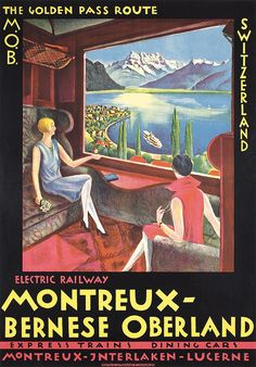 20x30 1950s Visit Switzerland Montreux Vintage Style Travel Poster