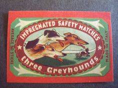 Vintage matchbox label 3 greyhound