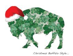 Irish Shamrock Buffalo in Santa Hat  -  Blank Christmas Holiday Note Cards - SET of 2