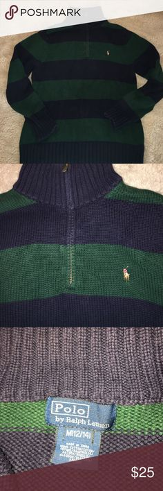Boys Polo By Ralph Lauren Pullover Size M (12/14) Boys Polo Navy & Green Pullover in excellent condition. Nonsmoking home.  Bundle for a deeper discount.  Open to offers Polo by Ralph Lauren Shirts & Tops Sweatshirts & Hoodies