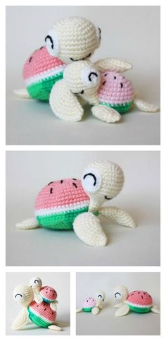 Crochet Diy Crochet Watermelon Turtles Amigurumi Free Pattern - The sweet crochet turtles will be the perfect friends for your kids. You can make them for your kids with these Crochet Turtle Amigurumi Free Patterns. Crochet Diy, Love Crochet, Crochet Crafts, Crochet Projects, Crochet Patterns Amigurumi, Amigurumi Doll, Crochet Dolls, Crochet Turtle Pattern Free, Watermelon Turtle