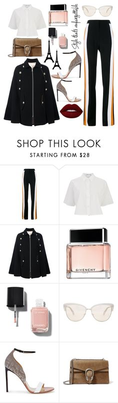 """Untitled #274"" by poorvashikalra ❤ liked on Polyvore featuring STELLA McCARTNEY, T By Alexander Wang, See by Chloé, Givenchy, Chanel, Oliver Peoples, Francesco Russo, Gucci and Lime Crime"