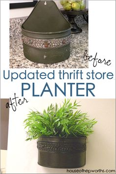Updated thrift store hanging planter WALL DECOR – House of Hepworths – Thrifted home decor Nails And Screws, Black Spray Paint, Basket Decoration, Colorful Garden, Baskets On Wall, Plant Holders, Container Plants, Hanging Planters, Home Decor Items