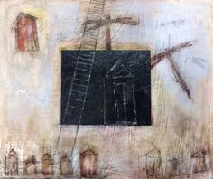 Leaving Home, $550.00' acrylic and ink on plaster on wood.