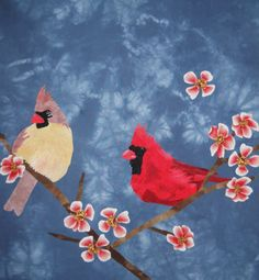 Cardinals and Cherry Blossoms art quilt by Cuppi Duke. Bird Patterns, Animal Patterns, Quilting Patterns, Quilting Ideas, Quilt Pattern, Bird Applique, Applique Quilts, Applique Ideas, Christmas Mug Rugs