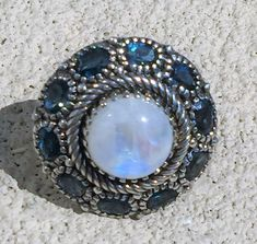 Sterling London Blue Topaz & Moonstone Halo Statement Ring, 18.5 grams, US Size 6