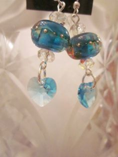 Blue Karma Earrings- Artisan Lampwork Glass Accented with Swarovski Crystals on Sterling Silver Wires, Unique, One of a Kind, SRAJD, OOAK