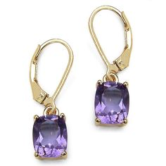 3.60 CT TW Octagon-Cut Amethyst Drop Pierced Earrings in 14k Gold over Sterling Silver