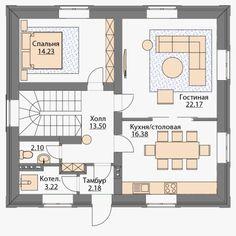 Готовый проект дома с мансардой площадью 143м2 в Комсомольске-на-Амуре Style At Home, Duplex House Plans, House Layouts, Floor Plans, House Design, How To Plan, Architecture, House Styles, Projects