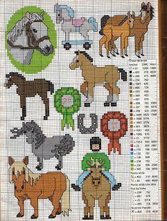 Enxoval Ponto Cruz by Núbia Cortinhas: Olá amigas! Gráficos de Cavalos: