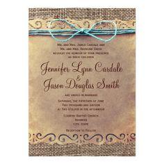 Rustic Country Vintage Burlap Wedding Invitations Custom Invites Artwork designed by RusticCountryWedding. Made by Zazzle Invitations in San Jose, CA