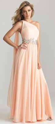 Peach Chiffon One Shoulder Embellished Empire Waist Prom Dress