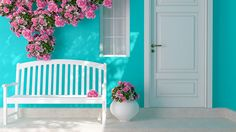 Entrance of a house. Front view of a wooden white door on a blue house with window. Beautiful roses and bench on the porch. Entrance of a house. Polyester Rugs, White Doors, Porch Swing, Front Porch, House Front, Elle Decor, Outdoor Furniture, Outdoor Decor, Indoor Outdoor