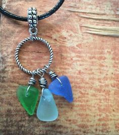 "Sea Glass Jewelry Necklace 19"" Cord  Handmade Hawaii Genuine Surfer Easter Gift  