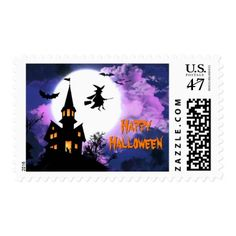 Scary Haunted Castle Flying Witch Happy Halloween Postage Stamp   Click/tap  To Personalize And