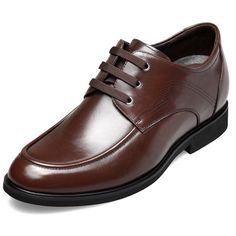 TopoutShoes - Breathable taller elevator casual business shoes 2.6inch / 6.5cm Brown