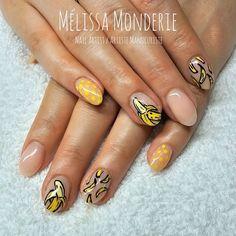 Nail Art. Montreal City. Nail artist. Mélissa Monderie. Catfish Illustration. Banana nails! :)