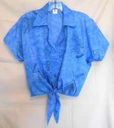 Rima Blue Black Tie Front Top One Size Fits All Collar Button Front Short Sl.