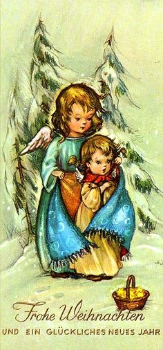 Culture lesson about German Christmas traditions Weinachts karte Christmas In Germany, Christmas Past, Christmas Images, Christmas Angels, Christmas Greetings, Christmas Holidays, Christmas Crafts, Xmas, Vintage Christmas Cards