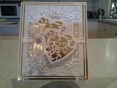 50th wedding aniversary card with spellbinders vines of passion hearts & gilded Gate 2.