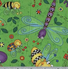 Timeless Treasures Happy Bugs Dance Lime from @fabricdotcom  From Timeless Treasures, this cotton print fabric is perfect for quilting, apparel and home decor accents. Colors include green, red, purple, yellow and black.