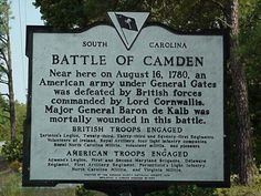 This is where the Battle of Camden was fought. This was a significant battle because it was a major defeat for the British army. This battle was in August of 1780. Patriot General H. Gates was told to take the army through Charlotte NC but instead he took them straight to Camden to fight the British. This was known to be a costly mistake.