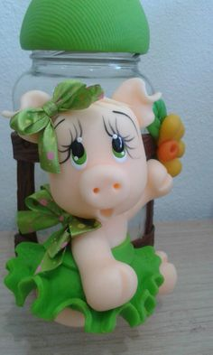 Vidro Polymer Clay Creations, Polymer Clay Crafts, Pig Crafts, Diy And Crafts, Diy Xmas Ornaments, Cow Craft, Clay Fairy House, Clay Jar, Kids Clay