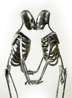 Zombie Skeleton Kissing Lovers Metal Sculpture by zedszombieranch